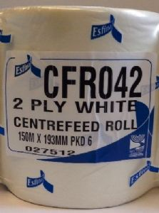 1 X White Esfina 2 Ply Paper Centre Feed Roll